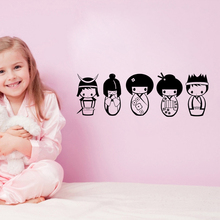 Cute Kokeshi doll DIY Vinyl Wall Stickers Removable Decals Wallpaper Eco-friendly Decor for Kids Room Nursery Poster