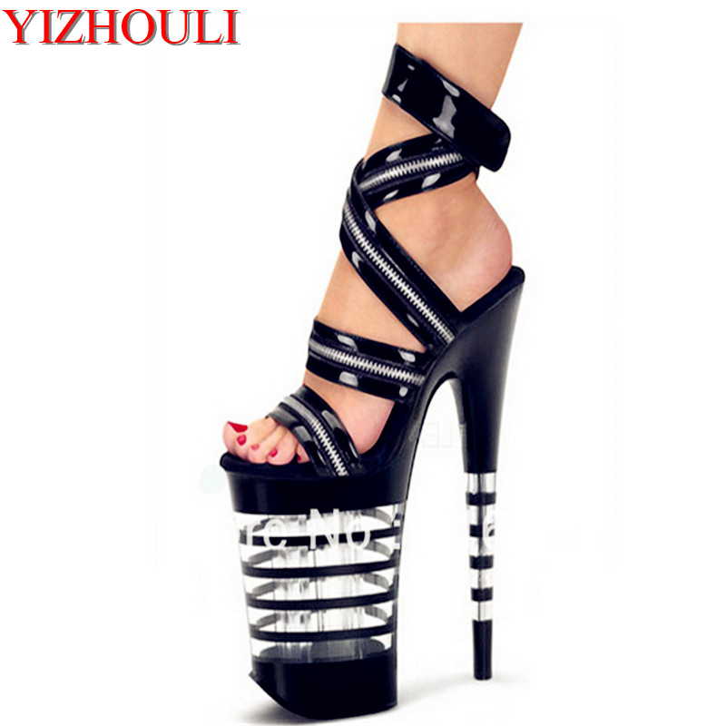 20cm super high heart with runway looks sandals, super high heels pole dance performance of the lacquer that bake Dance Shoes perfect dance enchanting performance sandals beautiful catwalk shows show 15 cm super high heels for women s shoes