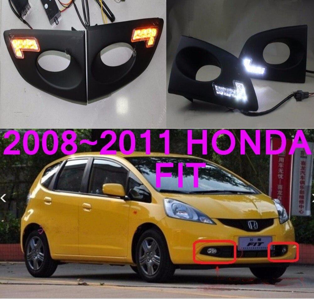 ФОТО Car-styling,Fit daytime light,Jazz,2008~2010,chrome,LED,Free ship!2pcs,car-detector,Fit fog light,car-covers,Fit headlight,Jazz