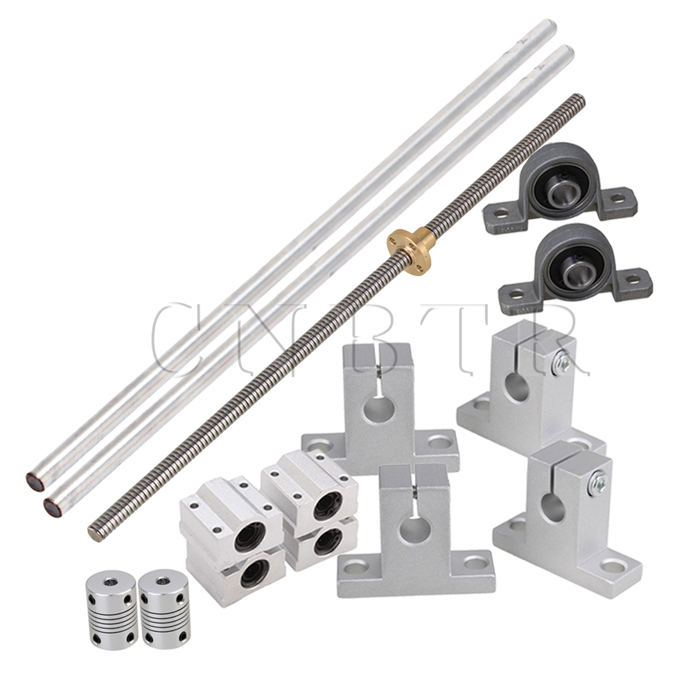 CNBTR Horizontal Linear 300mm Optical Axis & 2mm Lead Rods with Nuts Linear Slide Block & Stepper Coupler Dual Rail Support Set CNBTR Horizontal Linear 300mm Optical Axis & 2mm Lead Rods with Nuts Linear Slide Block & Stepper Coupler Dual Rail Support Set
