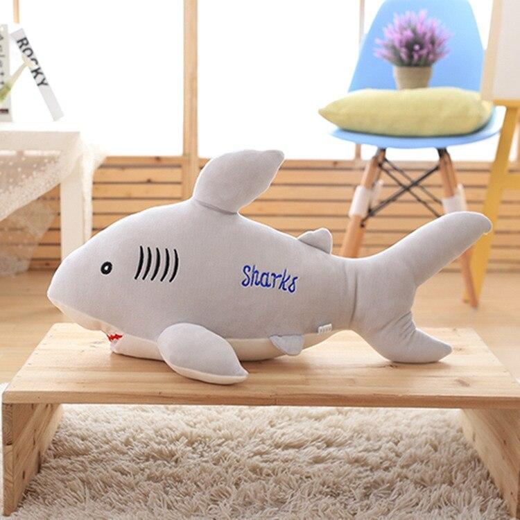 Grand gris en peluche requin jouet mignon en peluche requin poupée cadeau environ 85 cm