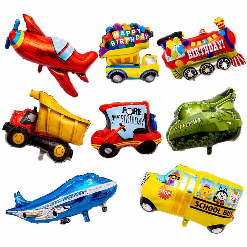 New Big fire car planes foil balloon kids hero Happy Birthday Party Decoration holiday cartoon Tank bus plane Truck balloons Toy
