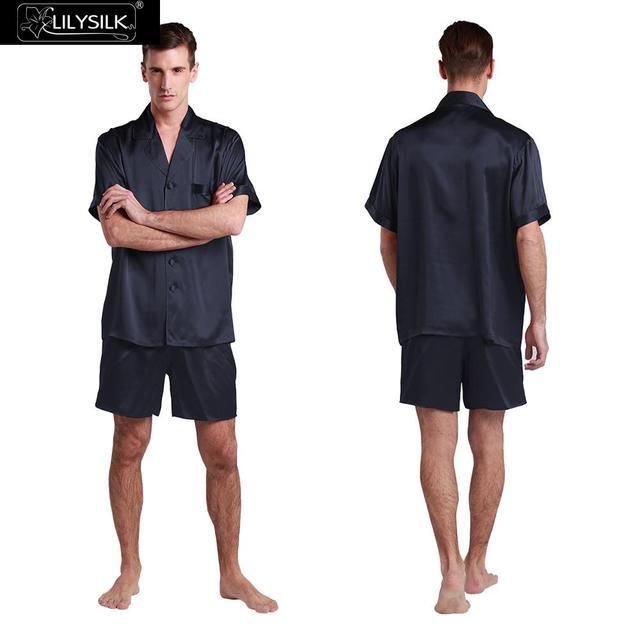 Conjuntos de Pijama Homens Lilysilk Roupa de Dormir de Cetim de Seda Pura Camisa de Manga Curta Shorts Sexy Masculino 22mm Contraste Guarnição Sleepwear Salão 2016
