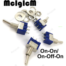 10pcs/lot Mini Toggle Switch SPDT 6A 125V AC/ 3A 250V AC Miniature Toggle Switch 3 pins On Off On On Onwith Nuts and Flats