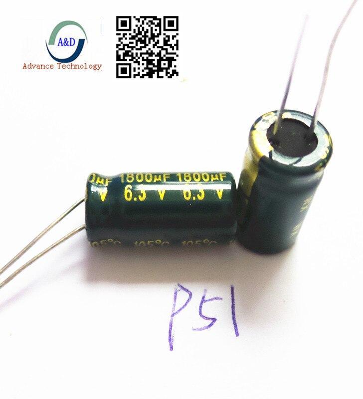 10Pcs Electrolytic Capacitors 6.3V 1800uF Volume 8x20 mm 1800uF 6.3V