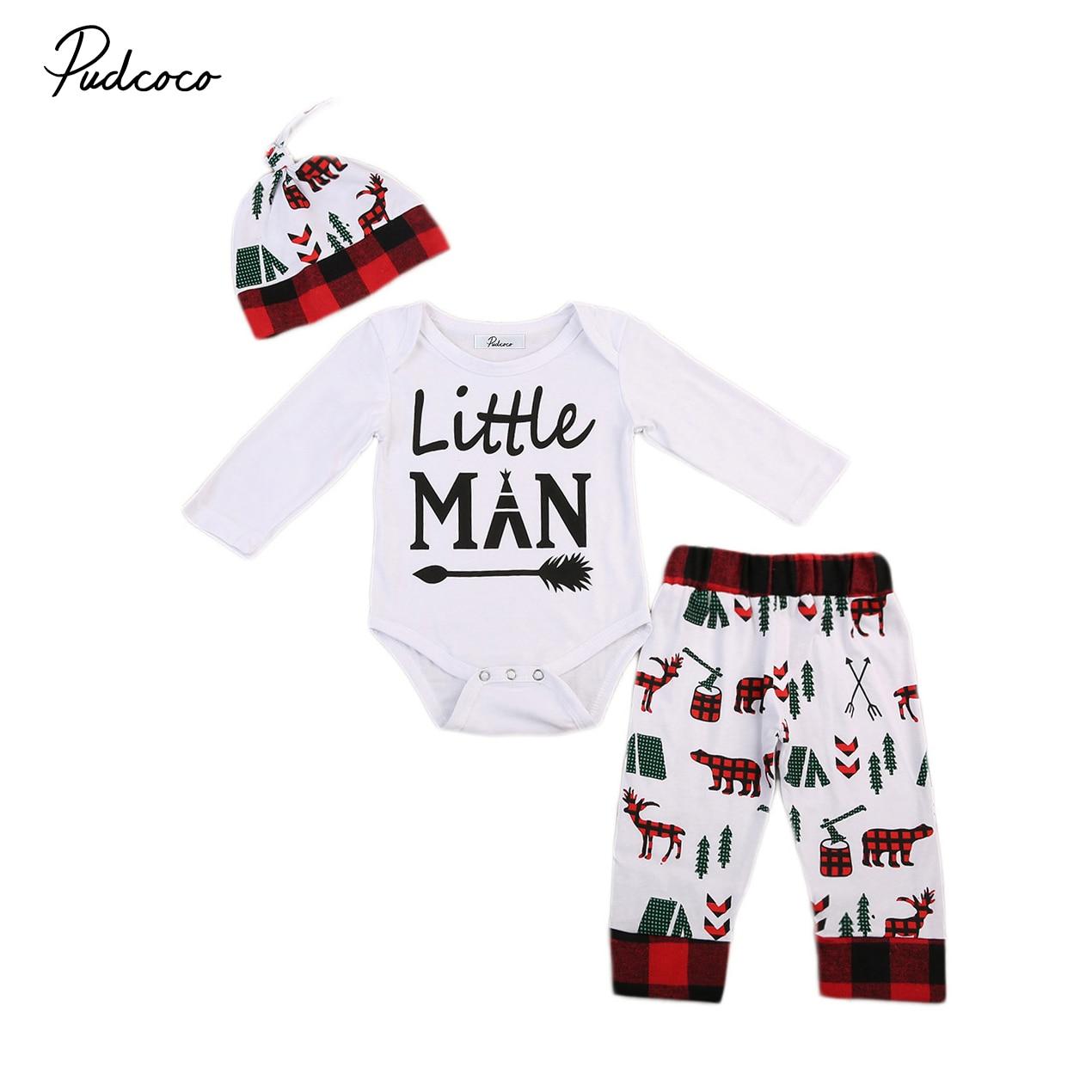 3pcs Set Newborn Infant Baby Boy Long Sleeve Romper+pants Outfits Christmas Clothes
