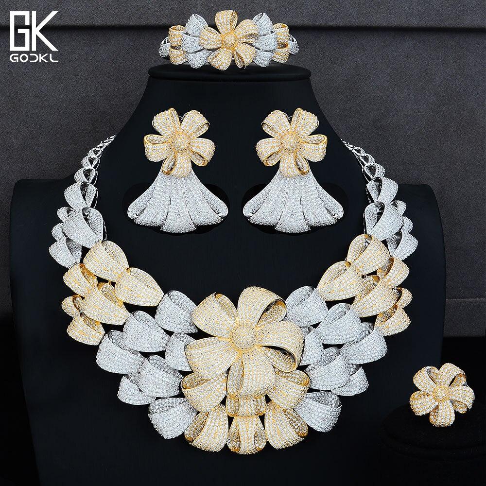 GODKI Luxury Flower Blossom Silver Jewelry Sets Women Wedding Cubic Zirconia Statement Necklace Earring Bangle Ring