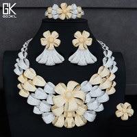 GODKI Luxury Flower Blossom Silver Jewelry Sets Women Wedding Cubic Zirconia Statement Necklace Earring Bangle Ring Jewelry Sets