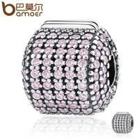 BAMOER Genuine 925 Sterling Silver Stopper Pave Barrel Clear CZ Clip Charms Fit Bracelets Women DIY