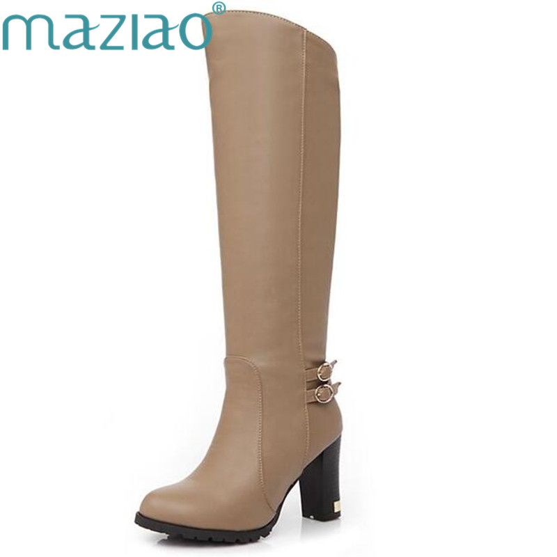 MAZIAO shoes women boots Knee-High mujer Botas high heels shoes fashion Knight boots high quality sexy woman boots plus size 43 ...