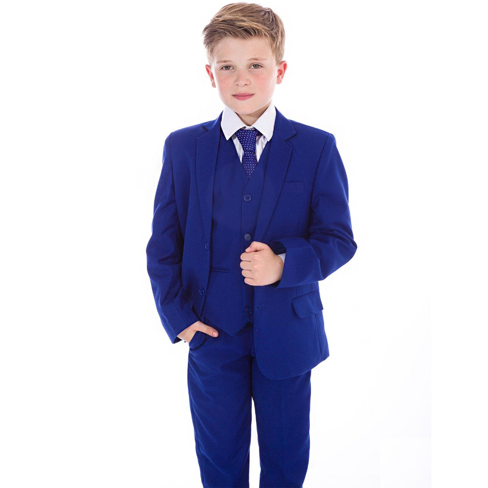 Royal Blue Boys Formal OccasionTuxedos Notch Lapel Side Vent Kids Wedding Tuxedos Child Suit Holiday clothes(Jacket+Pants+TieRoyal Blue Boys Formal OccasionTuxedos Notch Lapel Side Vent Kids Wedding Tuxedos Child Suit Holiday clothes(Jacket+Pants+Tie