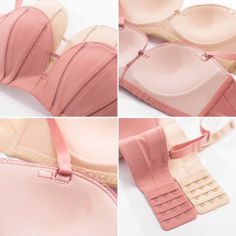 Wasteheart Women Fashion Pink Skin Wireless Sexy Bras Invisible Bras Wireless Lace Bow One Piece Bras Bralette Underwear Female in Bras from Underwear Sleepwears