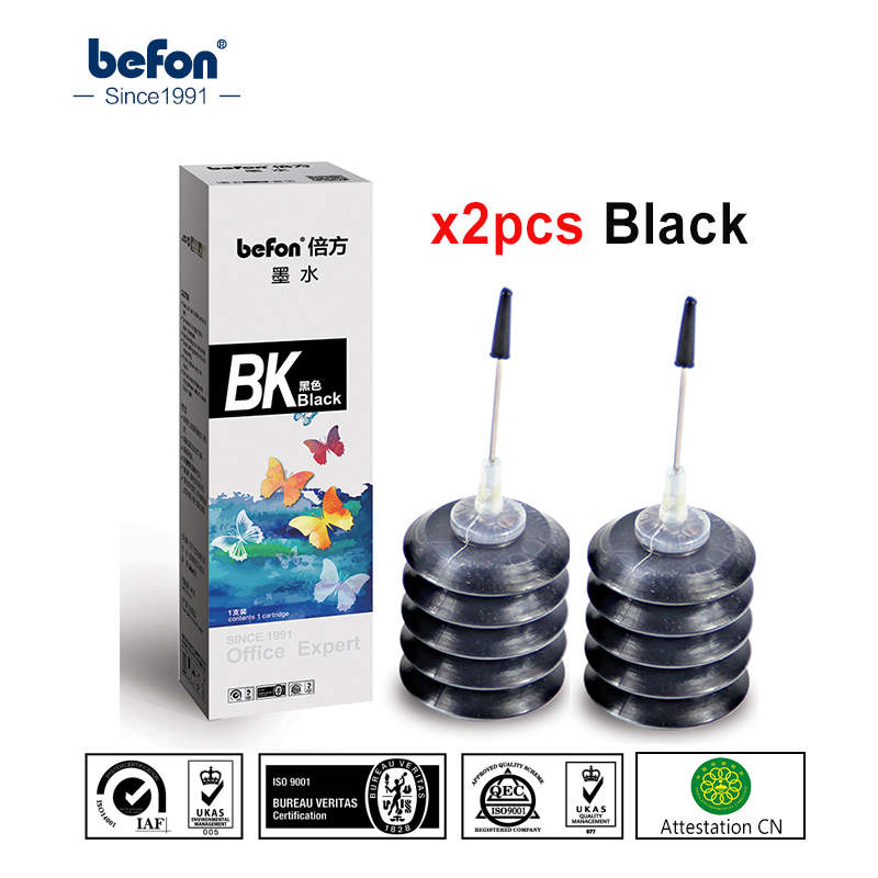 befon 2pcs Black Refill <font><b>Ink</b></font> kit Compatible for <font><b>HP</b></font> Canon <font><b>ink</b></font> <font><b>Cartridge</b></font> 301 21 22 301 121 140 141 pg510 cl511 <font><b>40</b></font> 41 for Printer image