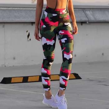 Ins Hot Fashion Workout Leggings For Women High Waist Push Up Legging Camouflage Printed Female Fitness Pants Casual Trousers 2