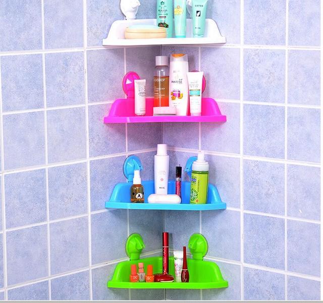 Strong Suction Cup Wall Seamless Bathroom Shelf Plastic Tripod Vacuum Chuck Corner
