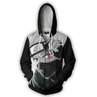 2017 New Fashion Cool Sweatshirt Hoodies Men Women 3D Print NARUTO KAKASHI SHARINGAN ZIP UP Hot