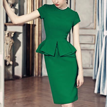 20- women vintage 50s green short sleeve peplum wiggle fitted pencil dress office work dresses elegant plus size vestidos jurken(China)