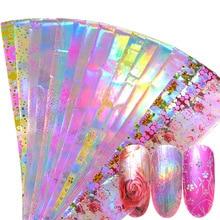 16pcs Holographic Nail Foil Set Mix Flower Design Transfer Foil Nail Polish Stickers Nail Art Decoration Slider Decals JI746