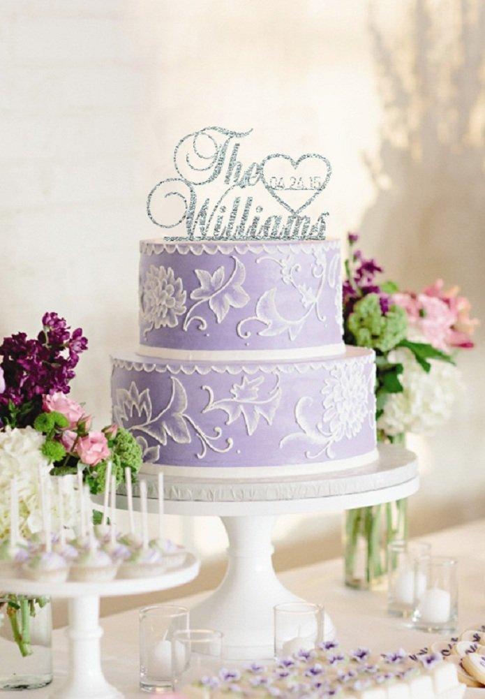 Aliexpress Com Buy Gold Silver Glitter Personalized Wedding Cake