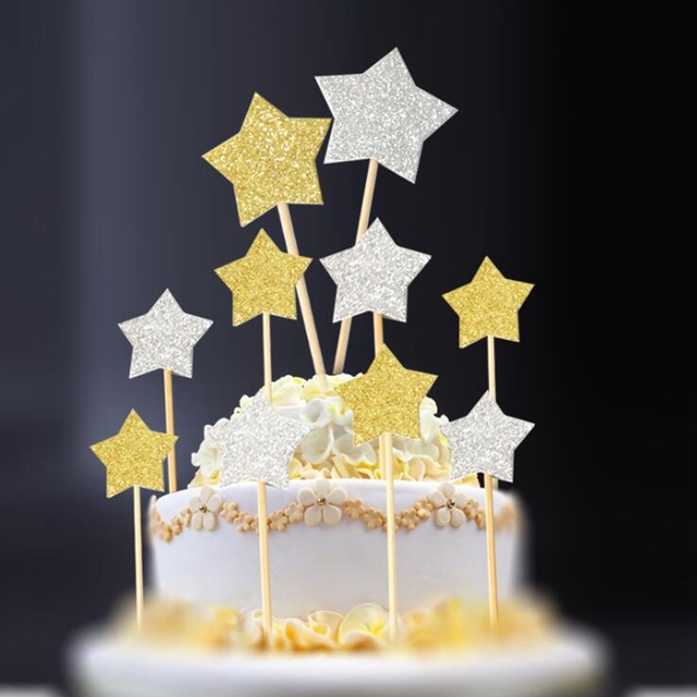 10pcs Lot Shiny Stars Love Heart Shape Cupcake Cake Toppers Pick Baby Shower Kids Birthday Wedding Party Decoration Supplies NEW