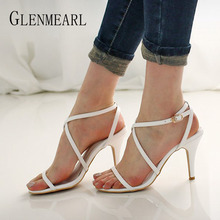 купить Sexy Sandals Woman Summer Shoes High Heels Cross Strap Peep Toes Brand Women Party Shoes Black White Sliver Female Shoes High DE по цене 1682.24 рублей
