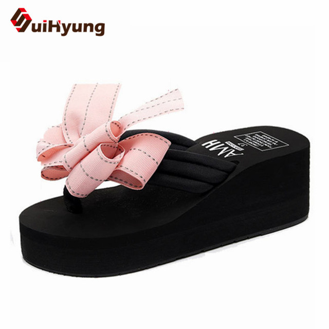708dcee513498c Suihyung New Women Summer Beach Slippers With Big Bowknot Wedges Waterproof  Platform Flip Flops Female Outside Slippers Sandals