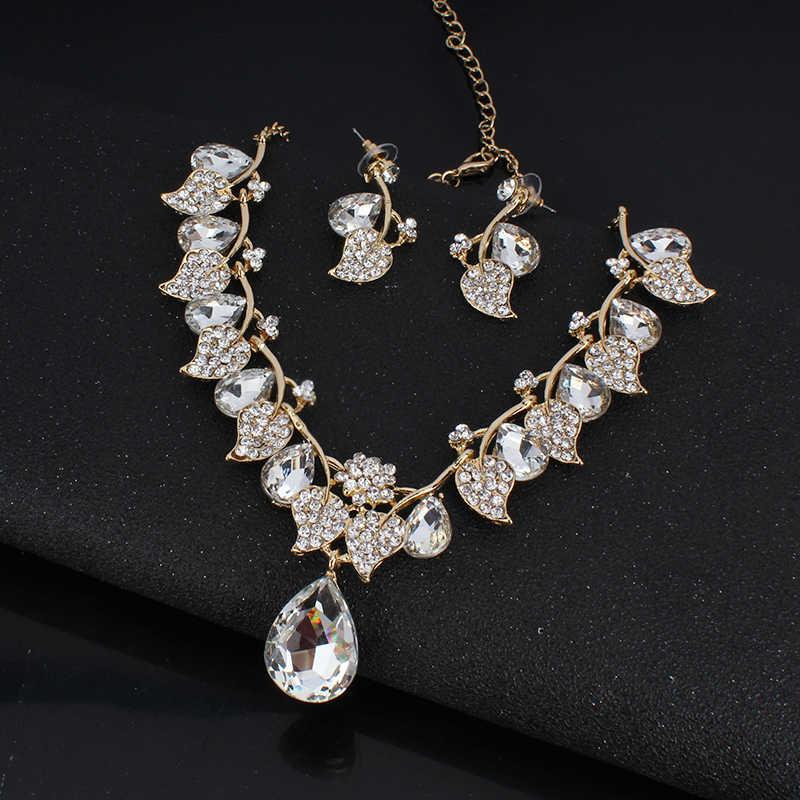 Jiayijiaduo Braut Hochzeit Schmuck-Set/Kristall Halskette Ohrringe Set Klassische Blatt Typ für Frauen Hochzeit Schmuck NE + EA