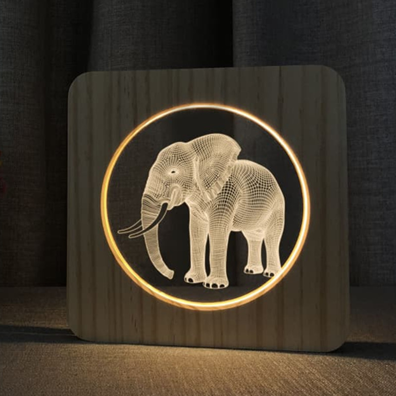 Elephant Lamp LED USB 3D Night Lamp Baby Room Decoration Wooden Warm Lights Home Decor Party Birthday Holiday Gift Drop Shipping
