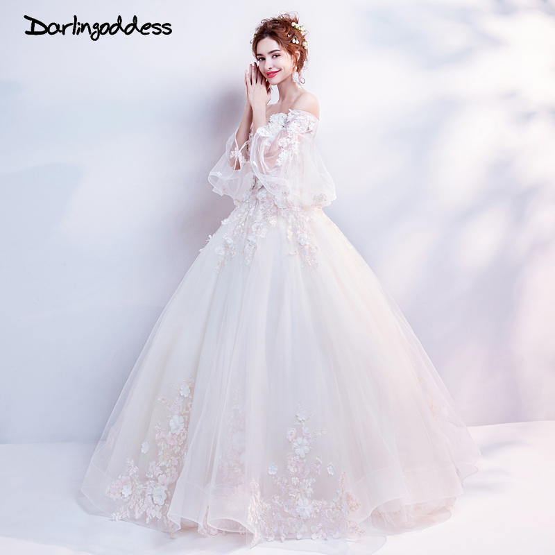 Darlingoddess Champagne Wedding Dresses 2018 Sweetheart 3D Flower Applique Lace Up Sexy Bridal Dress Pregnant Photography Dress