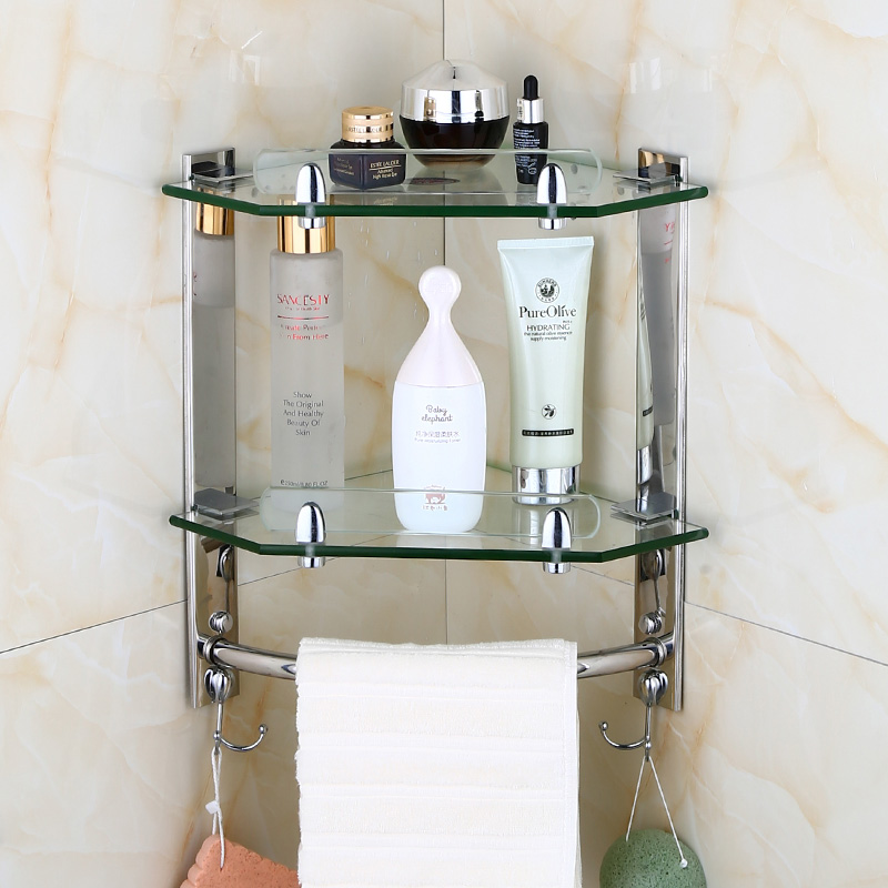 Sus304 stainless steel silver smooth mirror corner rack - Bathroom glass corner shelves shower ...