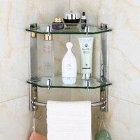 Sus304 Stainless Steel Silver Smooth Mirror Corner Rack Glass Bathroom Shelf Towel Rack Bathroom Accessories Wall Holder