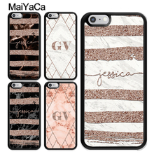 MaiYaCa PERSONALISED ROSE GOLD GEOMETRIC MARBLE NAME INITIALS TPU Case For iPhone XS MAX X XR 8 7 6 6s Plus 5s SE Phone Bag Capa