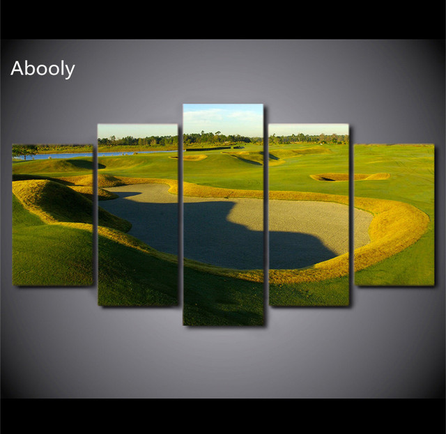 5PieceCanvas Art Golf Course Painting Green Wall Picture Wall Art ...