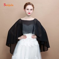 7c8561a595eae High Low Black Chiffon Wraps Women White Wedding Bolero Simple Arabic  Bridal Cape Formal Dress Wraps