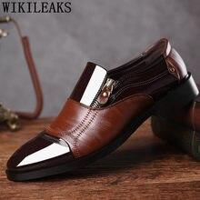 20fd785a2b Marca italiana zapatos de charol hombres holgazanes diseñador zip oxford zapatos  para hombre Zapatos de vestir hombre mocassin h.
