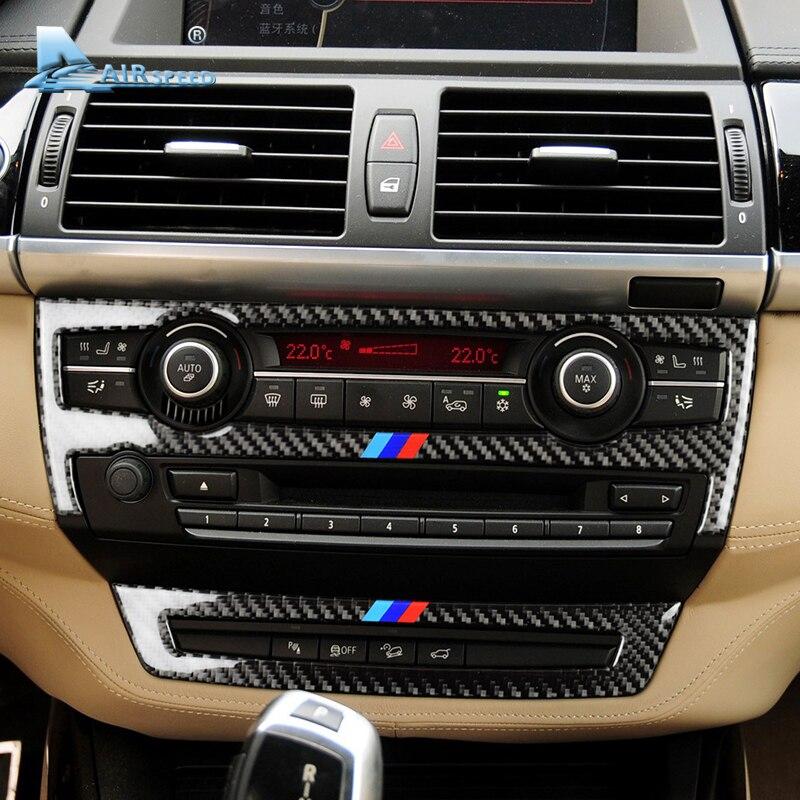 Velocidade De Fibra De Carbono Painel Do Console Do Carro Ar Condicionado CD Quadro Capas para BMW E70 X5 E71 X6 2008-2013 acessórios Do Carro Styling
