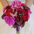 Ярко-Розовый Свадебный Букет Искусственный Роза Фаленопсис Калла лили Цветы Невесты букет Невесты Красное вино Подружки Невесты Букеты