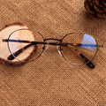 Rodada do vintage Liga Retro Óptica Armações de Óculos de Miopia Olho Óculos Ultraleves Prescrição Eyewear