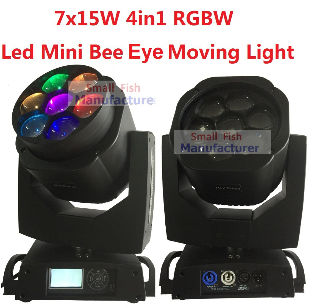 2xLot New Led Mini Bee Eye Moving Head Light 7x15W RGBW Professional Stage Lights 4-60 degree Zoom DJ DMX Disco Beam Wash Effect 10w mini led beam moving head light led spot beam dj disco lighting christmas party light rgbw dmx stage light effect chandelier