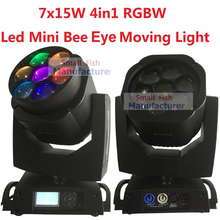 2xLot New Led Mini Bee Eye Moving Head Light 7x15W RGBW Professional Stage Lights 4-60 degree Zoom DJ DMX Disco Beam Wash Effect
