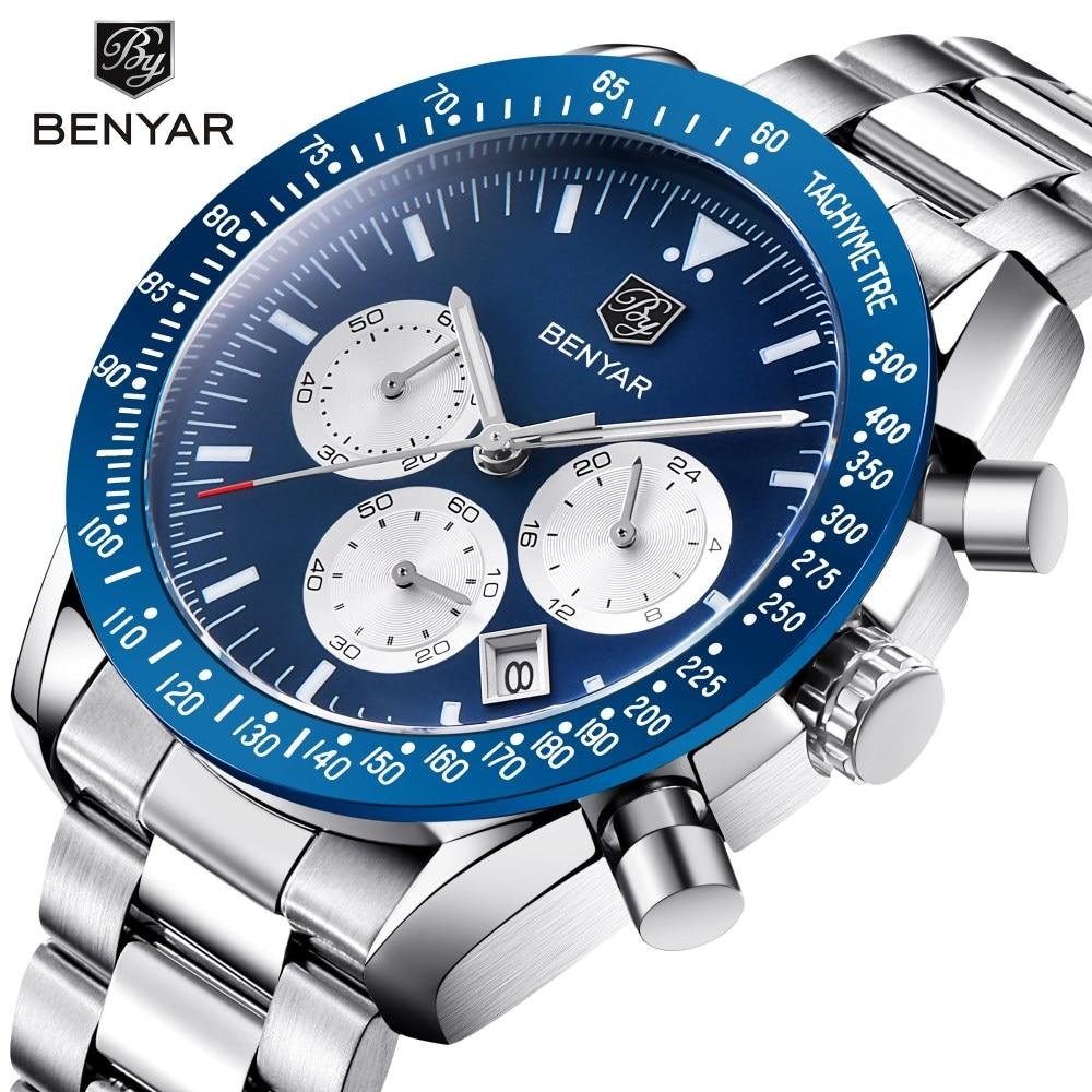 BENYAR Brand Men Sport Chronograph All steel Strap Quartz Watches All pointers work Waterproof Fashion Watch Clock Men Male Blue men all over florals shirt