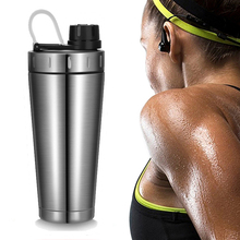 Protein Shaker cup stainless steel water bottle Outdoor Gym Training drink powder milk mixer Sport fitness water bottles 500ml stainless steel cup vacuum mixer outdoor drink 26oz kettle detachable whey protein powder outdoor portable sports shake bottle
