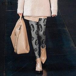 الخراب المرأة الجوارب الكلاسيكية هيبورن رئيس يطبع جوارب طويلة الإناث فتاة الجوارب 140D