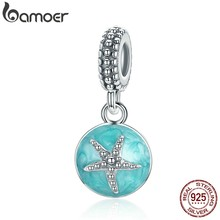 BAMOER Summer Collection 925 Sterling Silver Clear CZ Starfish & Sea Green Enamel Pendant Charm fit Bracelet Jewelry S925 SCC136(China)