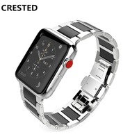CRESTED Stainless Steel Strap For Apple watch band 42mm 38mm iWatch Series 3/2/1 Ceramic wrist bands Link Bracelet belt correa