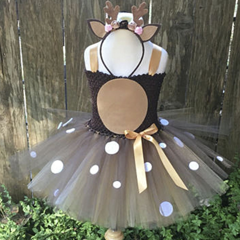 Princess Tutu Deer Tutu Dress Halloween Costume For Kids Birthday Party Photos Children Cosplay Clothes With Matching Headband