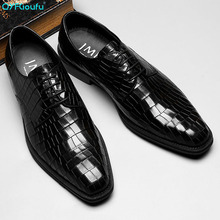 New 2019 Fashion Black Mens Formal Shoes Genuine Leather Lace-up Dress Alligator Pattern Men Wedding