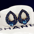 Natural stone fashion black Blue big earrings jewelry Brincos gold Blue  earrings For girls summer style pendientes