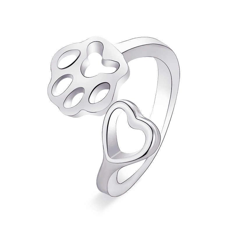 Ретро штампованный медведь кошка коготь Регулируемый двойной собака кольца с лапой Женская мода Животное Хвост кольцо свадьба юбилей