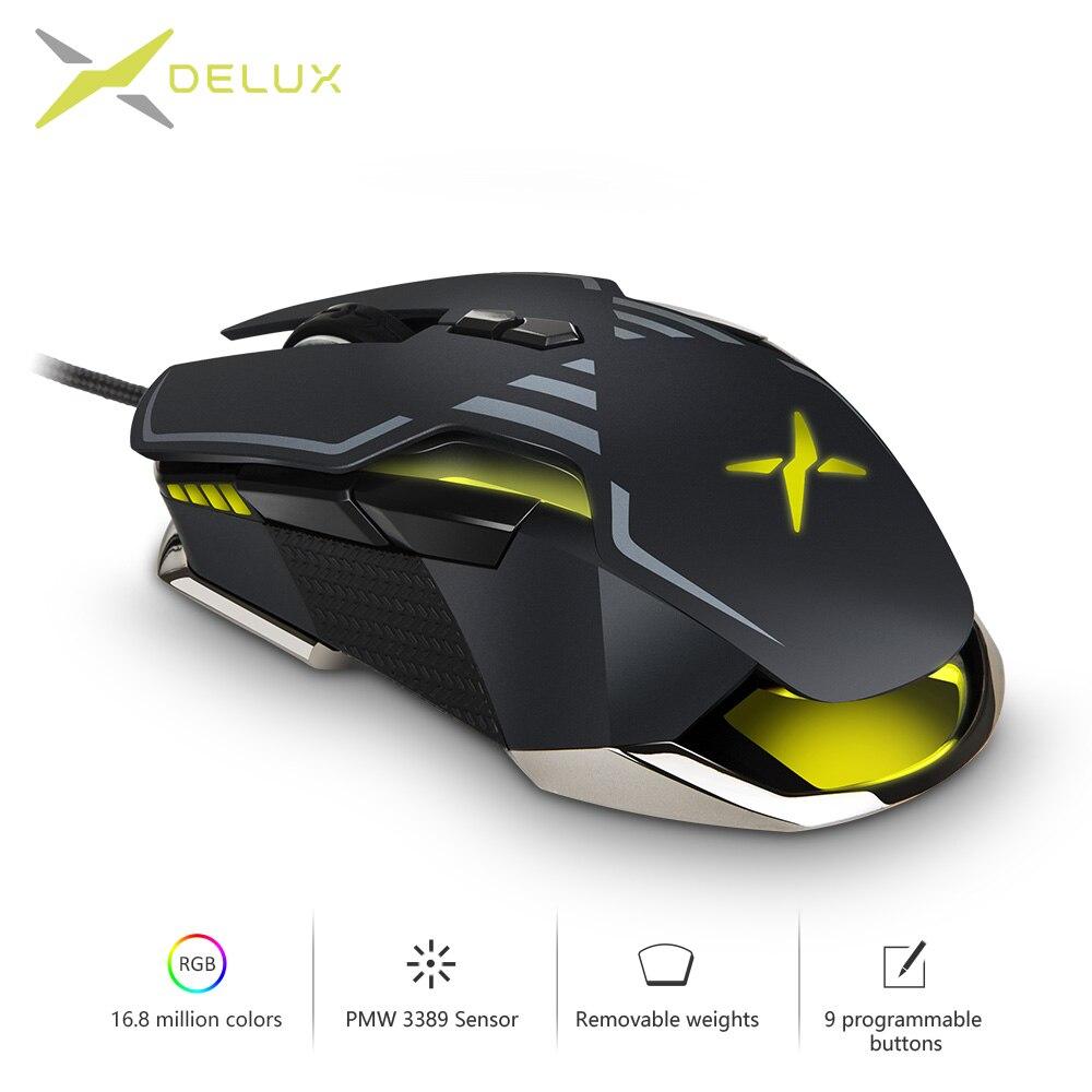Delux m628 pmw3389 sensor 16000 dpi gaming mouse 9 botões 50g acc rgb prendido ótico ambas as mãos ratos com conjunto de peso para o jogador